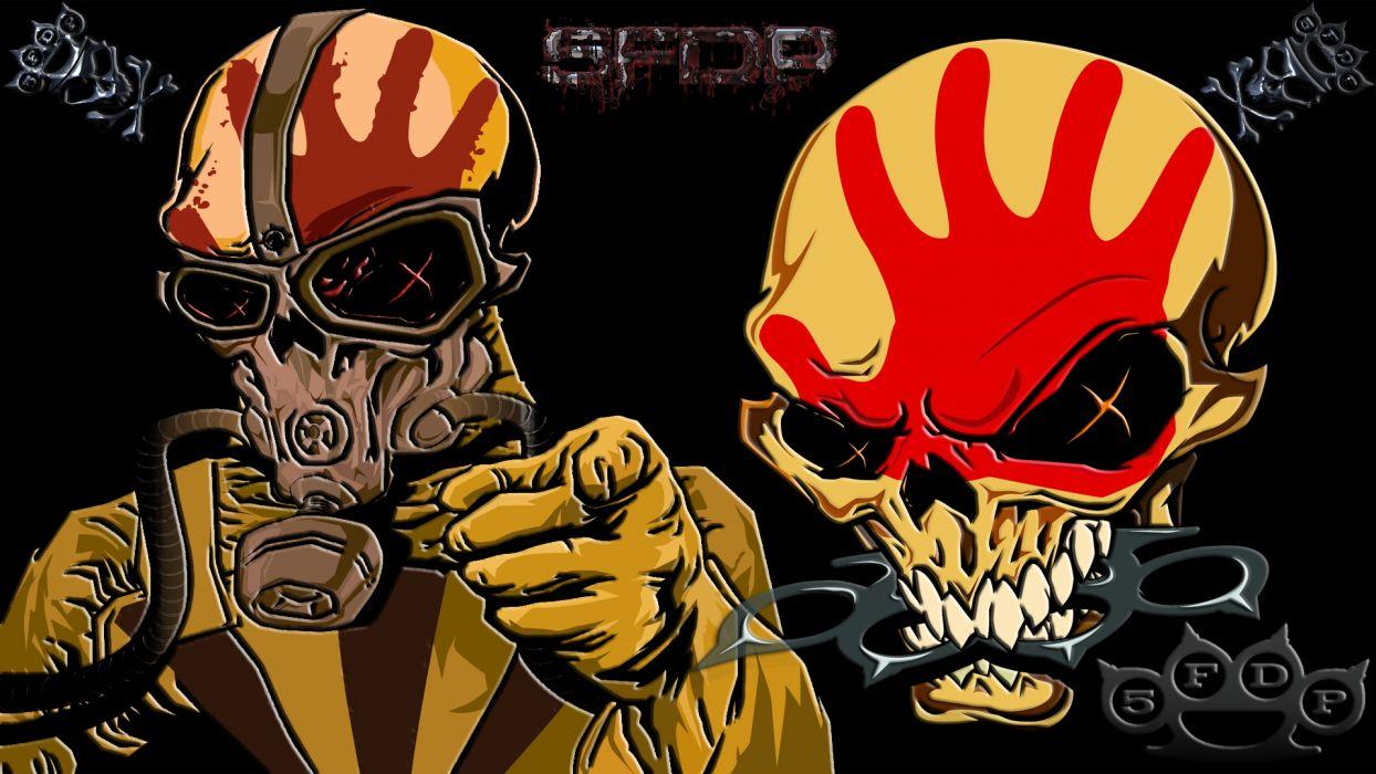 FIVE FINGER DEATH PUNCH heavy metal hard rock bands skull skulls dark    w wallpaper