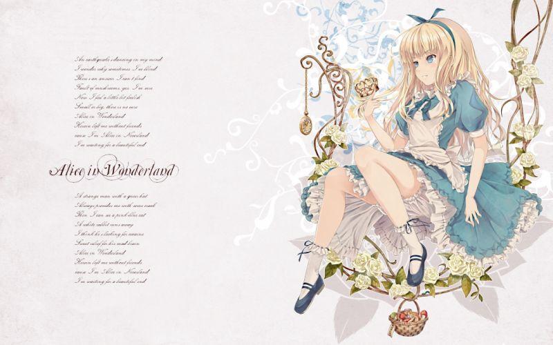 alice (wonderland) alice in wonderland dress flowers wallpaper