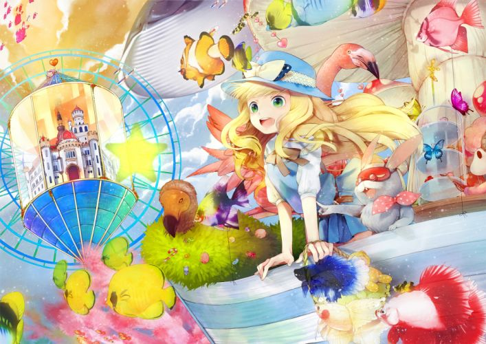 animal bird blonde hair bow bunny butterfly cherry blossoms cheshire cat clouds dress fish food glasses green eyes hakusai hat long hair stars wallpaper