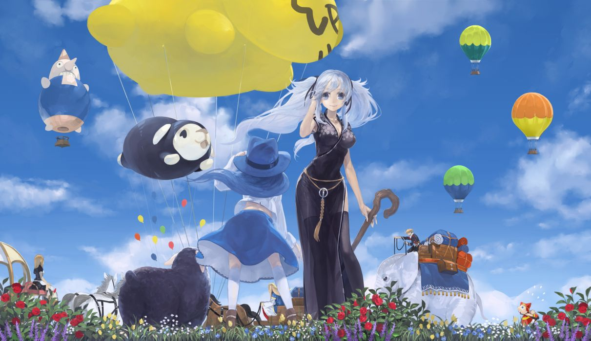 animal blue hair dress flowers hat lorna mabinogi nao rona sky toro wallpaper