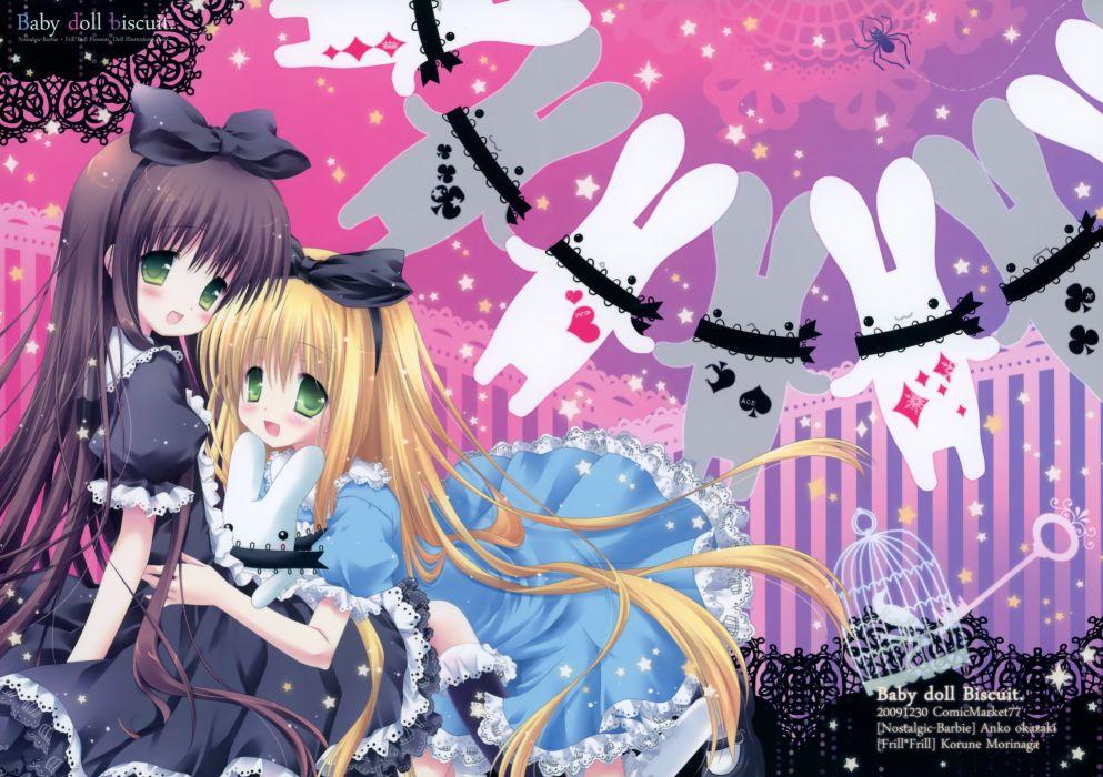 girls alice in wonderland blush bow dress goth-loli green eyes loli lolita fashion morinaga korune okazaki anko ribbons scan wallpaper