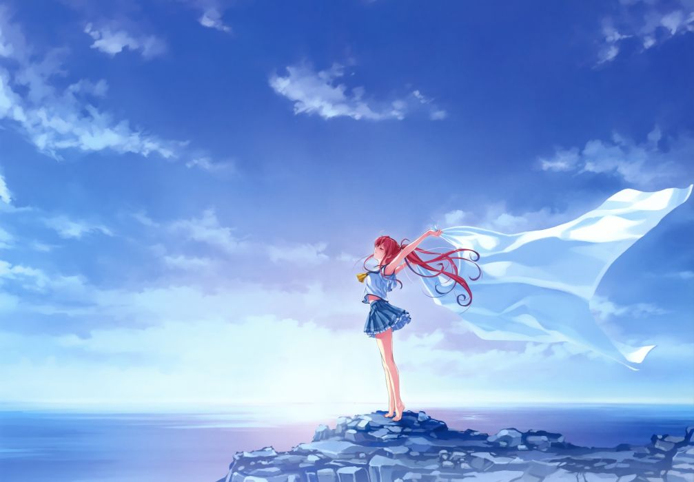 barefoot clouds deep blue sky & pure white wings misaki kurehito miyamae tomoka ponytail red hair scenic seifuku sky water wallpaper
