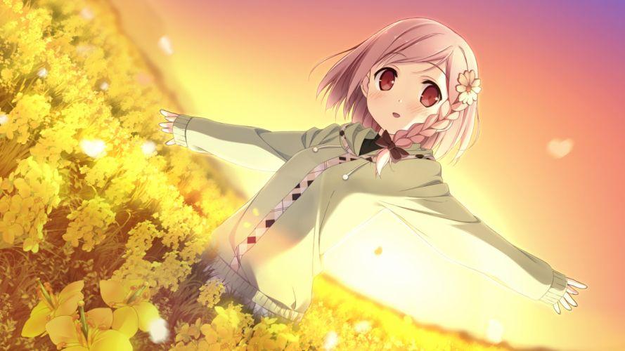 game cg kantoku pink hair red eyes short hair your diary yua g wallpaper