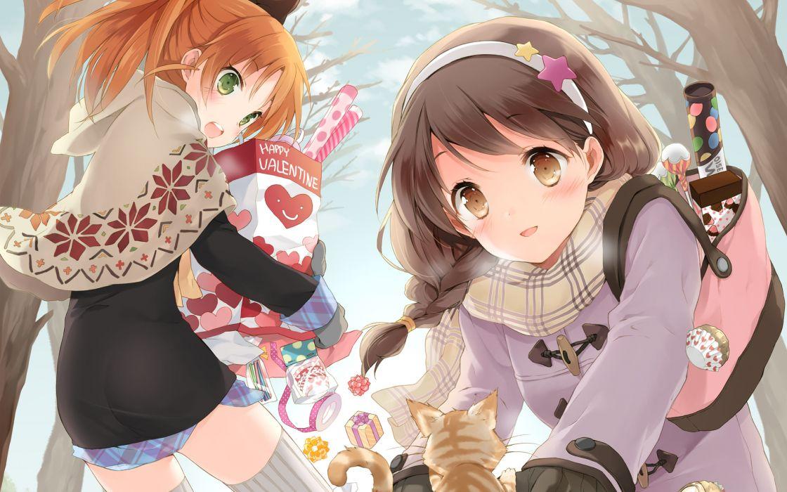 girls animal brown hair cat cuteg hirosaki kanade minagawa yuuhi orange hair scarf valentine your diary wallpaper