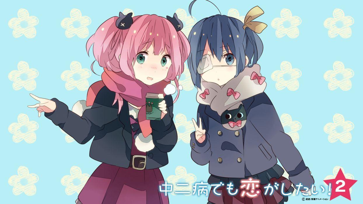 girls chuunibyou demo koi ga shitai! eyepatch ousaka nozomi shichimiya satone takanashi rikka wallpaper