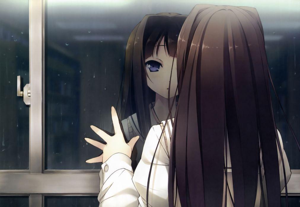 ayase sayuki black hair dengeki hime kantoku rain seifuku your diary wallpaper