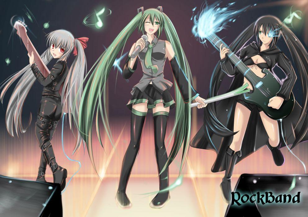 black rock shooter crossover guitar hatsune miku instrument kooh kuroi mato pangya vocaloid wallpaper