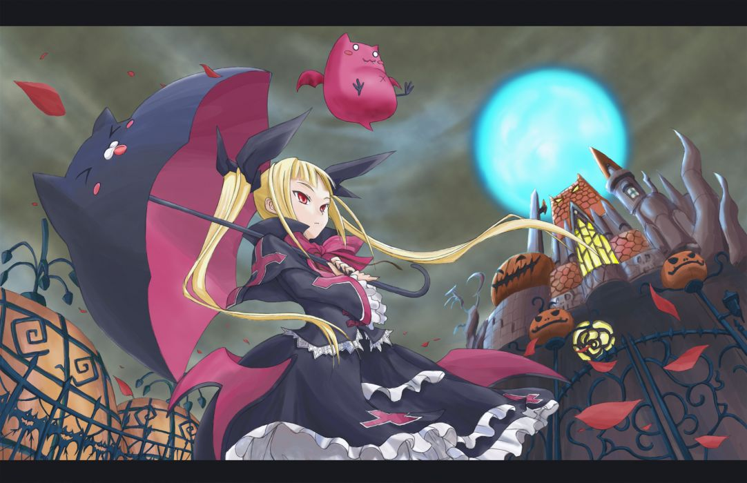 blazblue blonde hair dress moon nago rachel alucard twintails umbrella wallpaper
