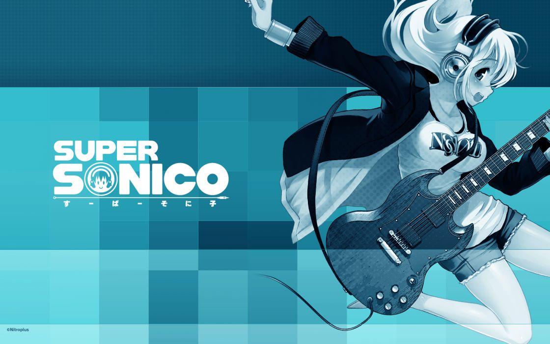 blue guitar headphones instrument nitroplus polychromatic sonico super sonico wallpaper