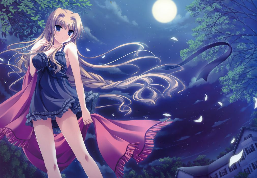 blue eyes chisha dress long hair midori no umi moon night petals yukie wallpaper