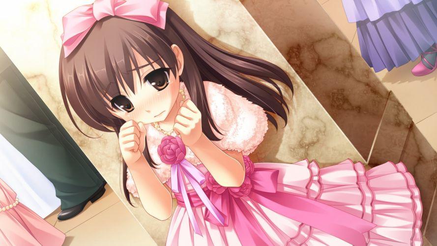 brown eyes brown hair dress game cg loli long hair michiru (midori no umi) midori no umi tears yukie wallpaper