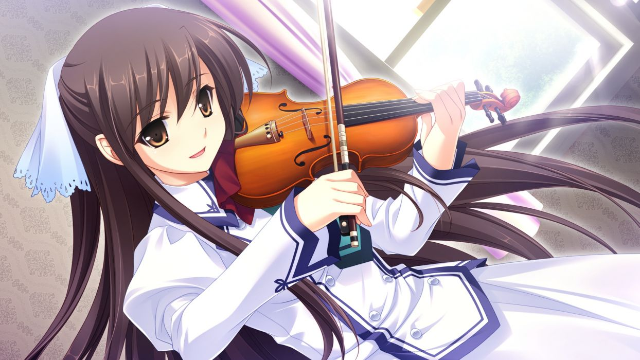 brown eyes brown hair game cg instrument long hair michiru (midori no umi) midori no umi violin yukie wallpaper