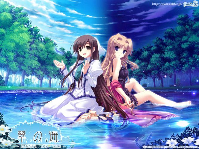 chisha long hair michiru (midori no umi) midori no umi saeki hokuto water yukie wallpaper