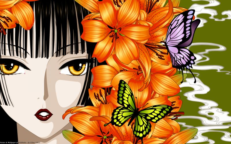 butterfly clamp close flowers ichihara yuuko japanese clothes vector xxxholic wallpaper