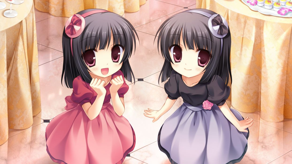girls black hair dress game cg long hair midori no umi pink eyes rikuno sorane twins yukie wallpaper