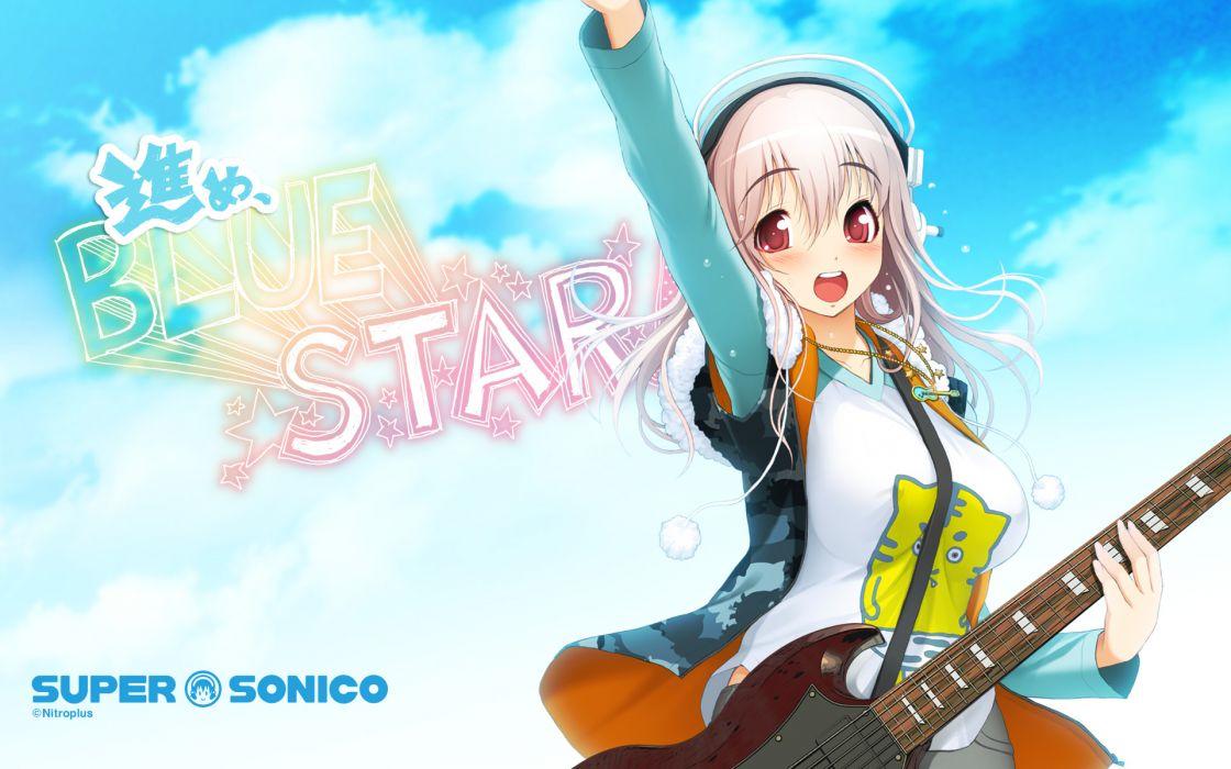 guitar headphones instrument nitroplus pink hair red eyes sonico super sonico tsuji santa wallpaper