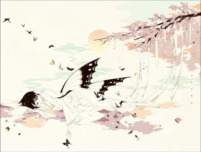 animal barefoot bicolored eyes butterfly cherry blossoms glasses japanese clothes kimono petals ribbons shishunki (artist) watanuki kimihiro xxxholic wallpaper