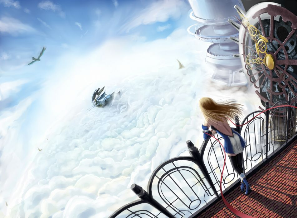 animal bird blazblue blonde hair boots clouds long hair noel vermillion scenic sky thighhighs tsukikanade wallpaper