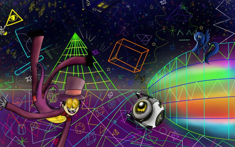 Star Wars Portal outer space TARDIS shapes rainbows Superjail My Little Pony Tie fighters Wheatley Doctor Who Derpy Hooves Princess Luna time jail The Warden wallpaper