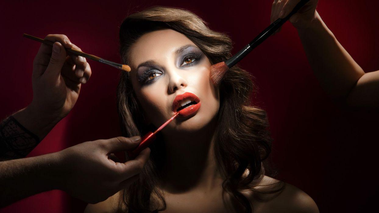 Makeup Brunette Face Brush wallpaper
