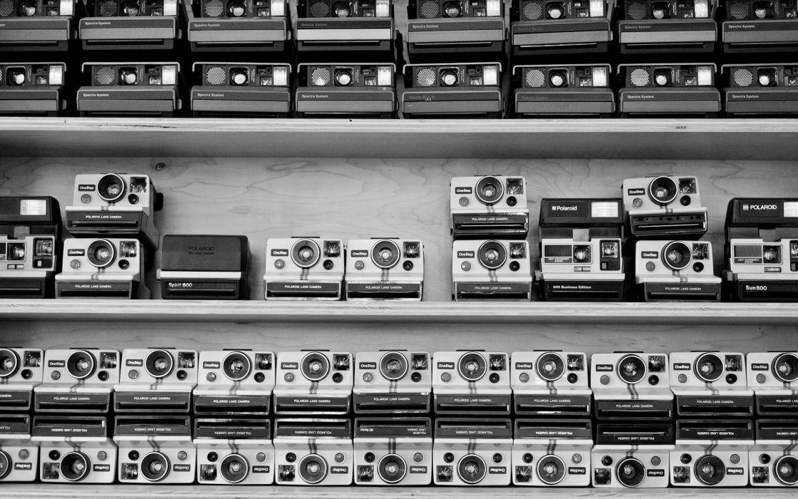 Polaroid BW Camera Shelf wallpaper