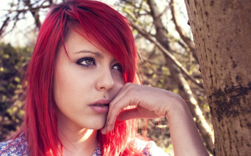 Redhead Face Piercings wallpaper