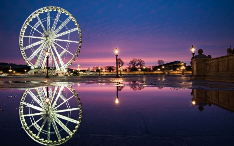 Concorde Paris France a city a fountain a Ferris wheel lights night people reflection wallpaper