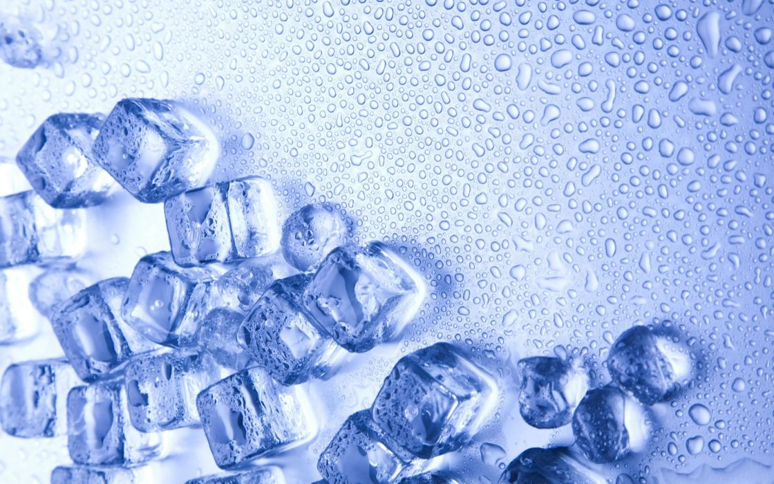 drops ice cubes close-up cold wallpaper