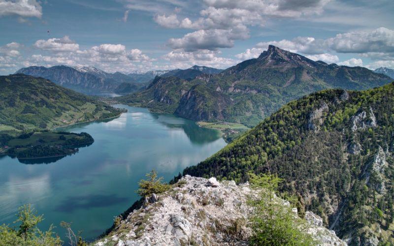 lake mountains clouds landscape wallpaper