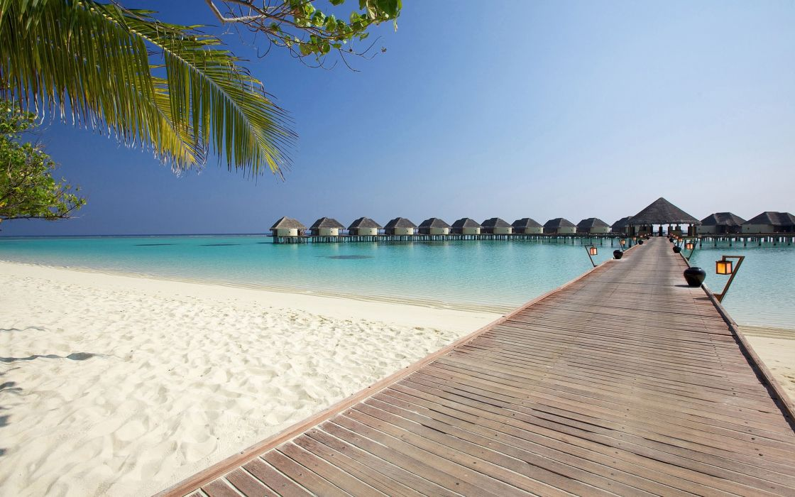 maldives beach sea bridge houses landscape ocean beaches wallpaper