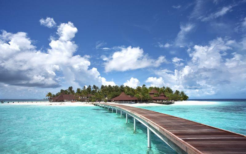 maldives sea island bridge landscape wallpaper