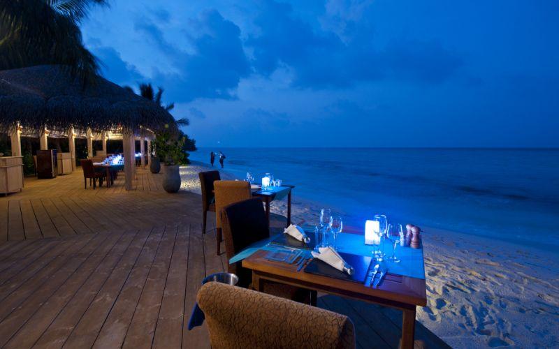 maldives table chairs beach sea interior wallpaper