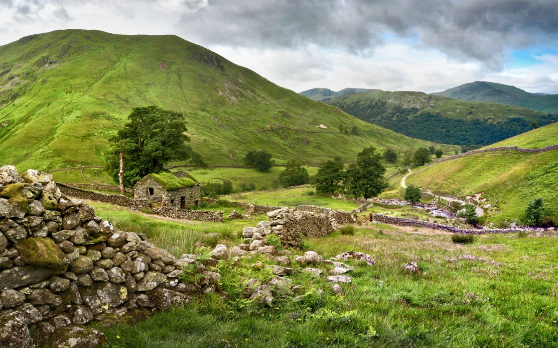 mountains rocks stone house fence landscape ruins wallpaper
