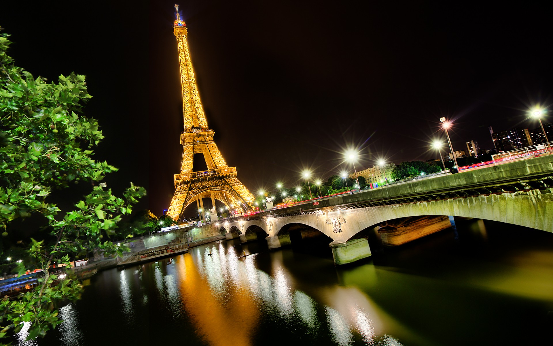 Paris Night Paris France City Bridge Night