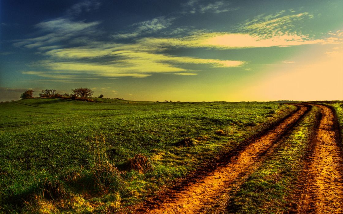 sunset field road landscape wallpaper