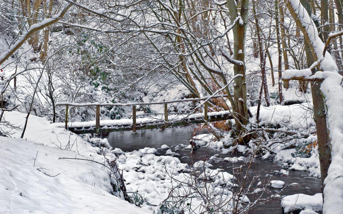 winter river bridge landscape trees wallpaper