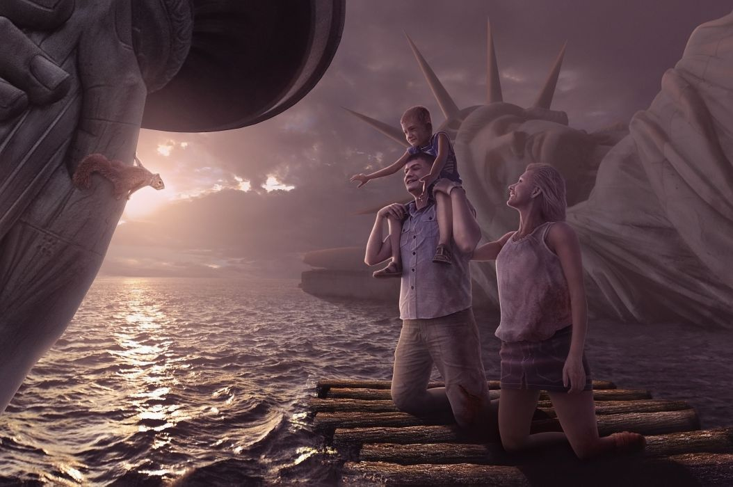 Apocalypic People Statue of Liberty Fantasy dark sci-fi wallpaper