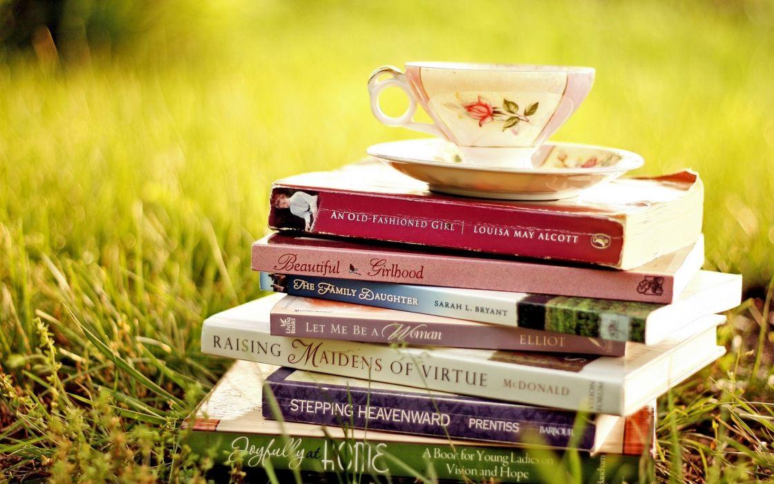 Book Cup Grass mood wallpaper