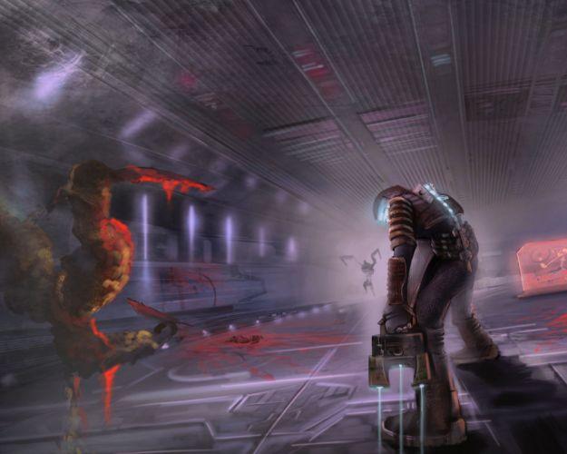Dead Space videogames sci-fi futuristic dark alien blood monster n wallpaper
