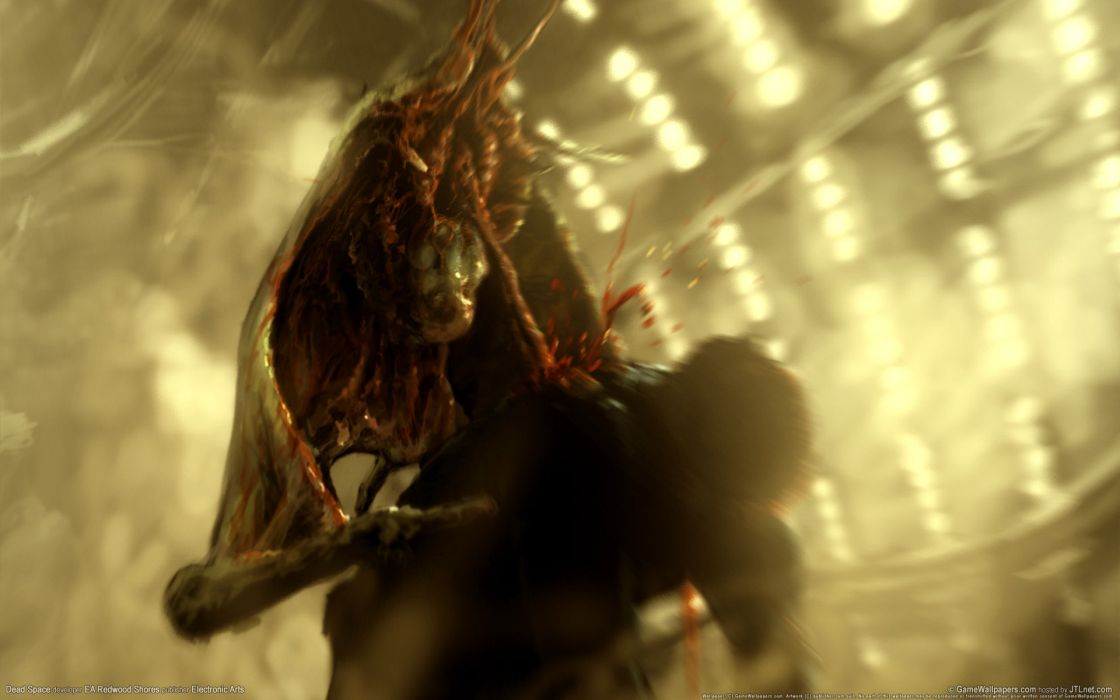Dead Space videogames sci-fi futuristic dark alien blood monster wallpaper