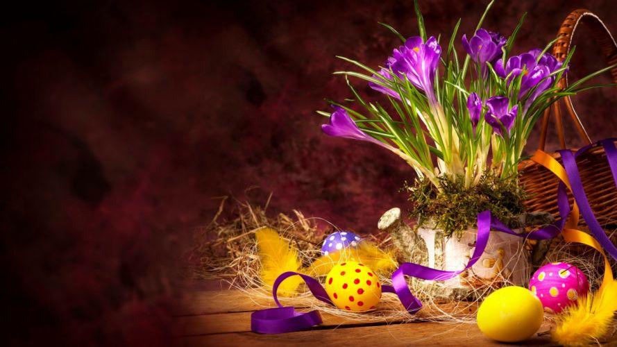 Holidays Easter Crocuses Eggs Flowers wallpaper