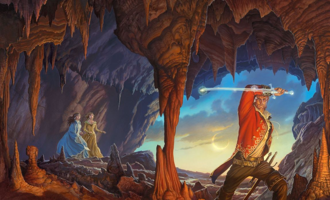 Illustrations to books Warriors Painting Art Cave Fantasy wallpaper