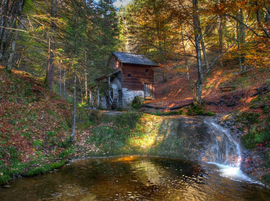 Scenery Forests Autumn Austrian Alps Stream HDR Nature mill wallpaper