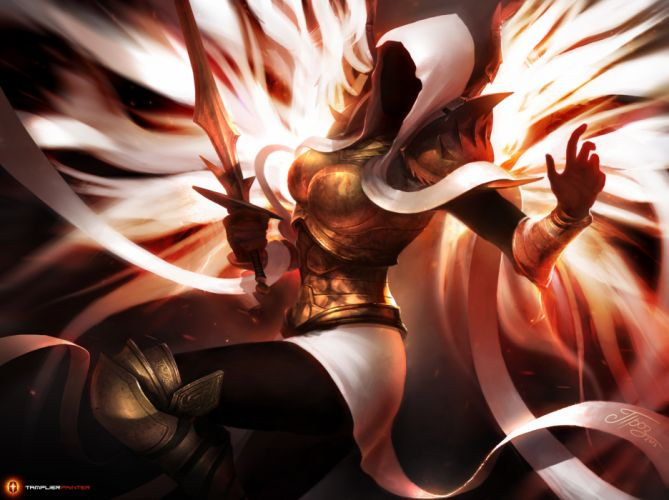 Art TamplierPainter Auriel Diablo lll 3 Fan Art girl sword wings hood wallpaper