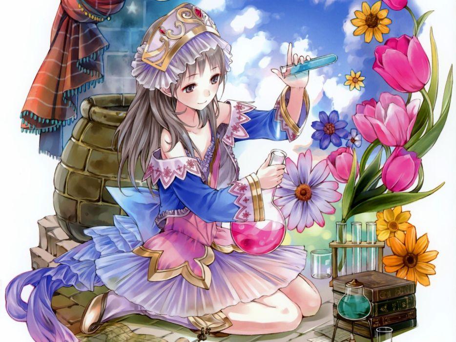 Atelier girls flowers wallpaper
