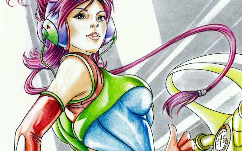 drawing art pencil girl headphones face hair red gloves motorcycle wallpaper