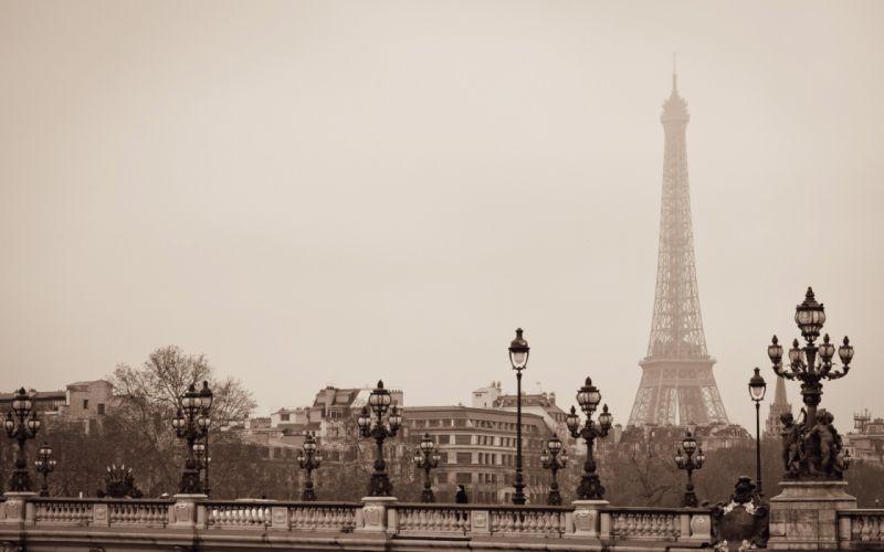 Eiffel Tower Paris France city lights bridge architecture wallpaper