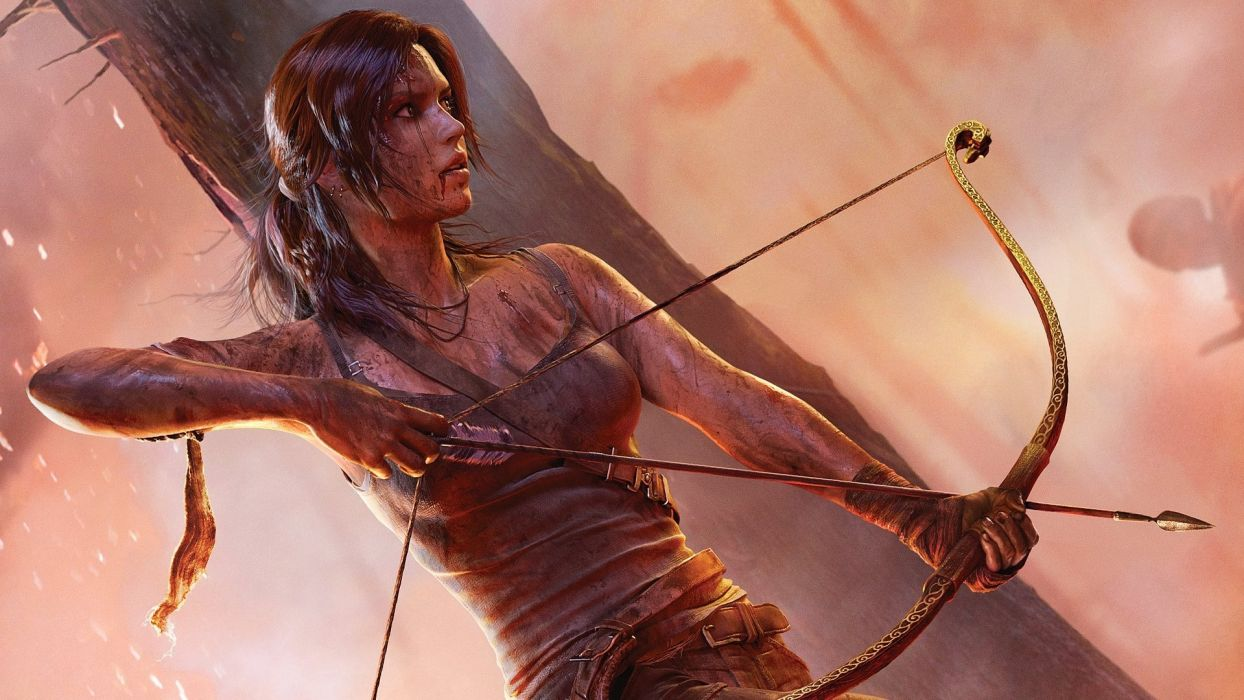 Lara Croft Tomb raider bow gun blood dirt clothing wallpaper