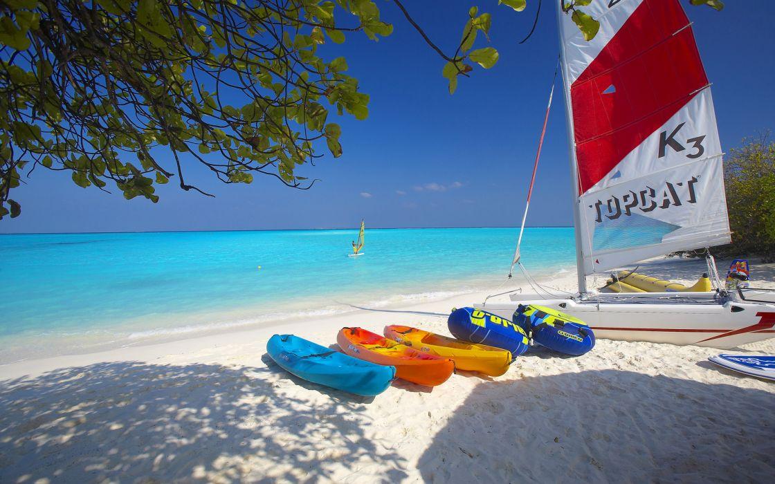Maldives Island Beach Boat Sailboat Tree Branches Wallpaper