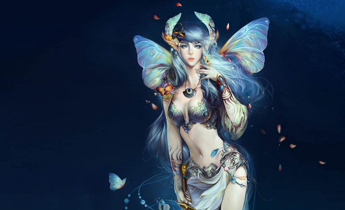 Perfect World International Descent girl background wings fairy butterfly wallpaper